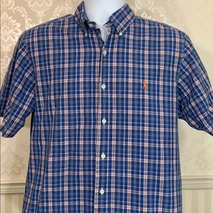Men's Ralph Lauren Blue Plaid Short-Sleeve Shirt